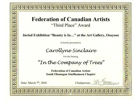 3rd Place Award for 'In the Company of Trees' for the 2020 FCA SOS 'Beautyis in' Show
