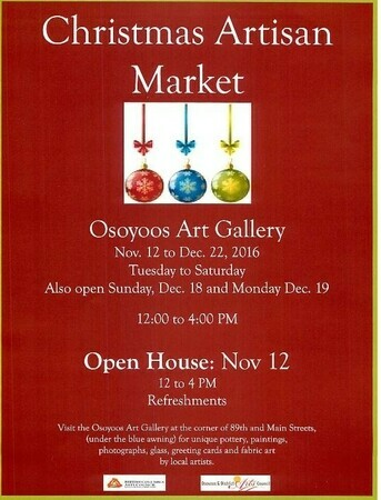Christmas Artisan Market 2016 at the Osoyoos Art Gallery