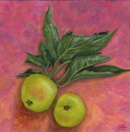 Green Apples on Pink
