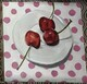 Three Cherries on Pink Polka Dots